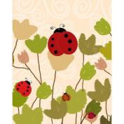 Green Leaf Art Ladybugs Canvas Art