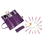 INSTEN Purple Roll Leather Makeup Cosmetic Pen Case Pouch Purse Bag+Pink Nail Brush