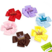 Bundle Monster 6pc Ribbon Flowers with Glitter Crowns Baby Toddler Hair Clips