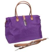 Tosca Women's Dark Purple Nylon Oversized Travel Tote Hand Bag w/ Shoulder Strap