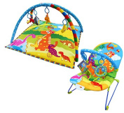 Baby Vibrating Musical Bouncy Chair and Matching Baby Play Gym, Play Mat - Dinosaur Pattern - By Inside Out Toys