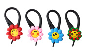 4 pcs Smiling Daisies Soft Zipper Pull Charms for Backpack Bag Pendant Jacket