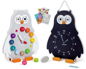 Janod 08132 Double-Sided Owly Clock Time Telling Educational Set with Colouring Book