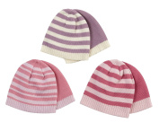 TICK TOCK Baby Girls Beanie Hat Stripy Two Pack 2 PK Cold Weather Soft Warm