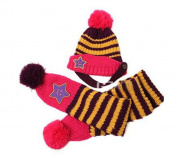 BuyHere Cute Unisex-Baby Smile Star Knitting Unisex-Baby Cap with Scarf,Purple