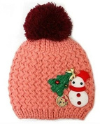 TheWin Fashion Lovely Baby Kids Girls Boys Warm Winter Snowman Knit Crochet Hat, Pink