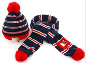 TheWin Fashion Lovely Baby Kids Girls Boys Warm Winter Knit Crochet Hat with Scarf, Red