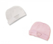 Premature Petite Baby Supersoft 100% Cotton Hats 2 Pack - White & Pink Bear Design