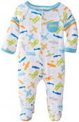 ABSORBA Baby-Boys Newborn Aeroplane Footie, Blue Print, 0-3 Months Colour