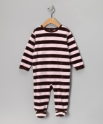 Leveret Velour Striped Coverall Rompers Footed One Piece (Size 3-18 Months) (3 Months, Pink & Brown) Colour