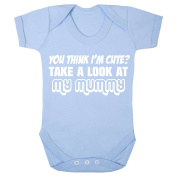 'You think I'm cute. Take a look at my mummy' pastel blue babygrow