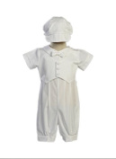 Boy's Poly Cotton Christening Baptism Romper with Pique Vest - Size S 3-6 Month) Size