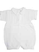 White 100% Cotton Boy's Christening Baptism Knit Romper w/Attached Vest 6 Month Size