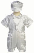 White Satin Christening Baptism Romper with Vest and Matching Hat - 12 to 18 months Size