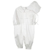 Cotton Christening Baptims Pique Longall with Tucks and Embroidery and Hat ( 12 Month/White) Size