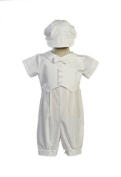 Boy's Poly Cotton Christening Baptism Romper with Pique Vest - Size XL (18-24 Month) Size