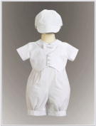 Boy's Cotton Christening Baptism Romper with Pique Vest - Size XS (0-3 Month), White Size