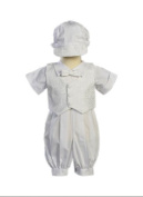 White Poly Cotton Christening Baptism Romper Set with Vest and Hat - Size S (3-6 Month) Size