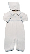 Boy's White Cotton Knit Christening Baptism Longall with Blue Cross and Hat - 3 Month Size
