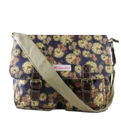 Ladies Navy Blue Roses and Clock Satchel , Girls Dark Blue Oilcloth Style Shoulder Bag