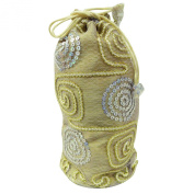 Gift Beige Potli Bag Silk Blend Fashionable Handbag Sequins Ethnic Clutch Purse