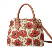 Signare Womens Ladies Tapestry Fashion Handbag Across Body Bag (Convertible) Poppy