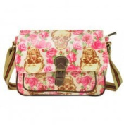 QQ1754 White - Skull And Roses Printed Oilcloth Satchel Messenger Bag