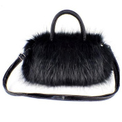 Tenflyer Girls Lady Fashion Korean Style PU Leather & Faux Fur Tote Clutch Shoulder Bag