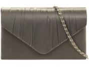 New Satin Envelope Pleated Evening Clutch Bag Handbag Prom Races Wedding 18 Colour's 8002