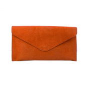 Women's Orange Suede Envelope Evening Clutch Bag