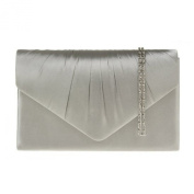 Ladies Pleated Satin Envelope Evening Clutch Bag Handbag Bridal Prom 8 colour's complete with shoulder chain exclusive to Accessorise-me.