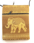 Elephant passport shoulder bag - gold with 2 pockets
