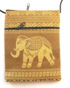 Elephant passport shoulder bag - gold with 2 pockets