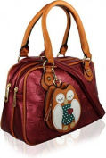 KukuBird Owl Coin Pouch detail Pattern Faux Leather Designer Boutique Totes Handbag