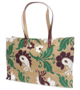 Avenue By The Art File - Natural Jute Hessian Shopping Tote Shoulder Bag With A Green, Plum & White Flourish Design