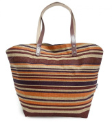 Avenue By The Art File - Natural Jute Hessian Shopping Tote Shoulder Bag With Orange & Purple Striped Design