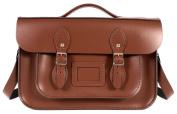 36cm Chestnut Brown English Magnetic Snap Briefcase Leather Satchel - Classic Retro Fashion Bag
