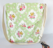 Retro Vintage Print Large Oilcloth Satchel Green Floral Rose