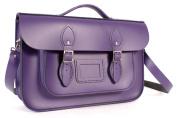 36cm Deep Purple English Magnetic Snap Briefcase Leather Satchel - Classic Retro Fashion Bag