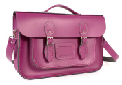36cm Cherry English Magnetic Snap Briefcase Leather Satchel - Classic Retro Fashion Bag