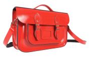 36cm Rosy Red English Magnetic Snap Briefcase Leather Satchel - Classic Retro Fashion Bag