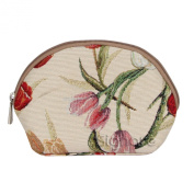 Signare Womens Fashion Canvas Tapestry Cosmetic Make-up Bag Floral Tulip Design