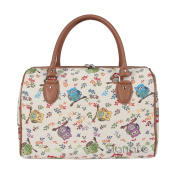 Signare Womens Fashion Canvas Tapestry Travel Weekend Overnight Bag Owl Design