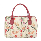 Signare Womens Fashion Canvas Tapestry Travel Weekend Overnight Bag Floral Tulip Design