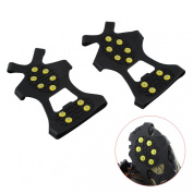 Tera 1 Pair Ice Snow Shoe Spikes Grips Crampons Cleats Anti Slip 10-Teeth for Hiking Climbing