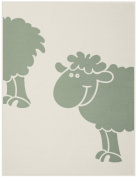 Bocasa Biederlack 75 x 100 cm Bio Cotton Kids Sheep Blanket Throw, Green