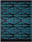 Bocasa Biederlack 150 x 200 cm Exquisite Cotton Medusa Blanket Throw, Blue