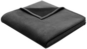 Bocasa Biederlack 150 x 200 cm Exquisite Cotton Blanket Throw, Anthracite Grey