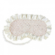 Gigi Quilted Embroidered Eye Mask (Ivory with Gold Spots) by Bombay Duck