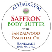 ATTIS Safron Body Butter with Sandalwood Essential Oil | Vegan | with Apricot Kernel Oil and Cucumber Extract | moisturiser | face cream | hand cream | natural | handmade | For a Glowing Skin